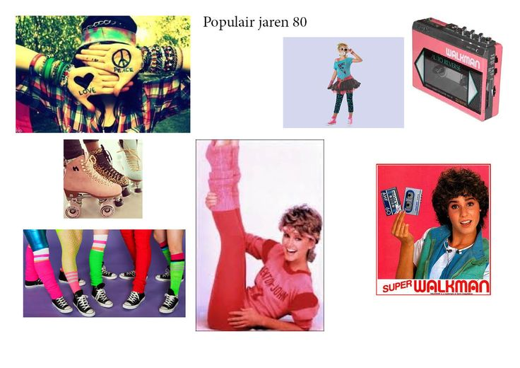 Visueel onderzoek over populaire dingen in de jaren 80. Hier zie je vele verschillende kleuren die toen in de mode waren.