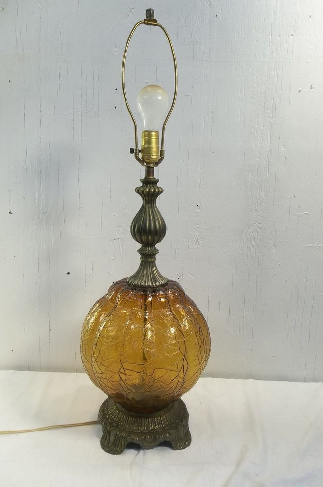 VINTAGE EK 1972 24 ELECTRIC TABLE LAMP AMBER GLASS 5040