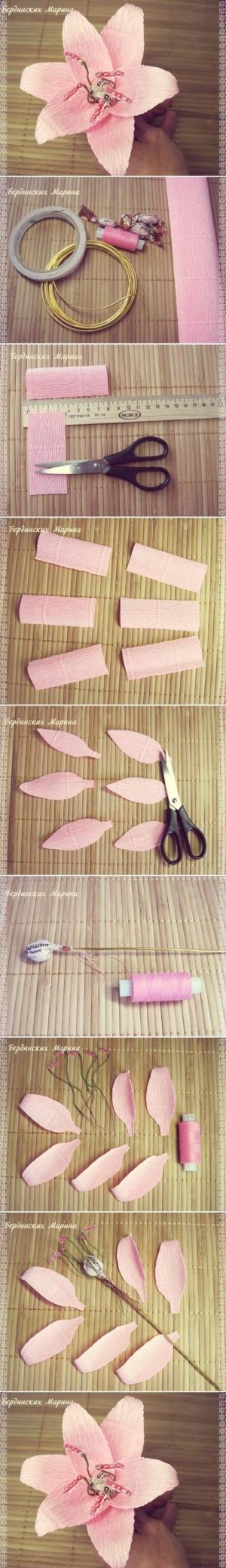 How to make beautiful Lily Flowers step by step DIY tutorial instructions , How to, how to do, diy instructions, crafts, do it yourself, diy by Mary Smith fSesz