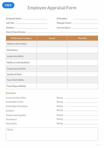 free employee appraisal form form templates designs 2019