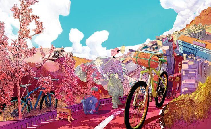 Cover illustration for the 7th issue of The Ride Journal by Shan Jiang