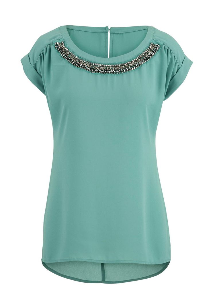 short sleeve chiffon blouse with bead embellishments - maurices.com
