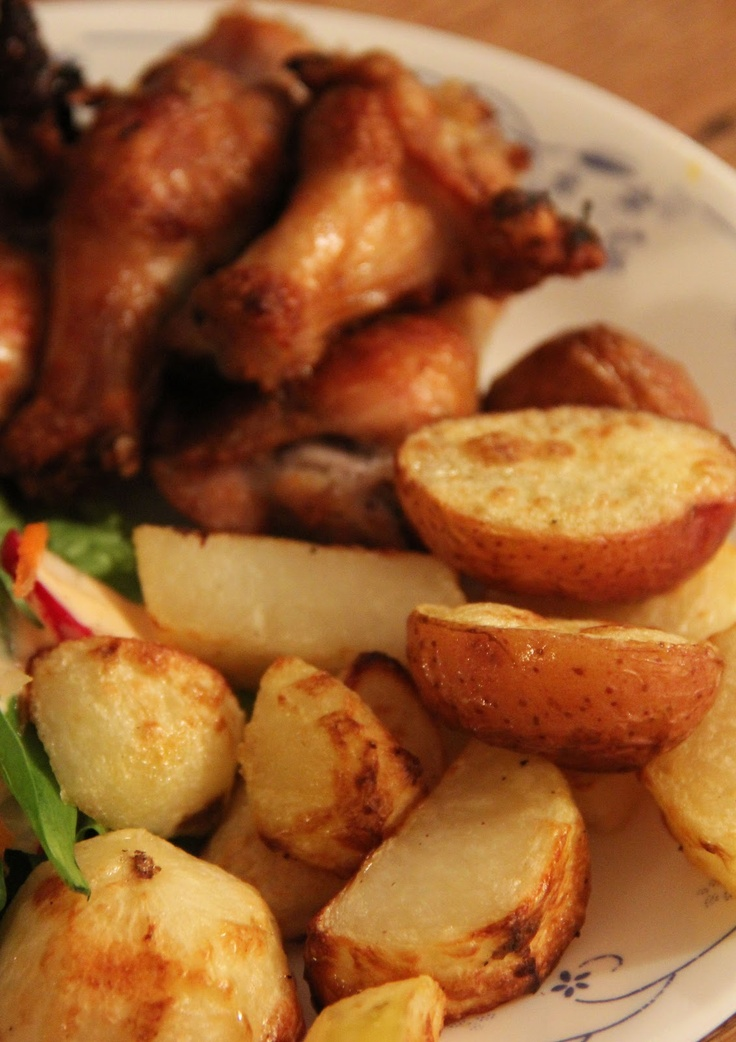 Portuguese Style Chicken Drumettes and Salt & Vinegar Potatoes. So crazy good!