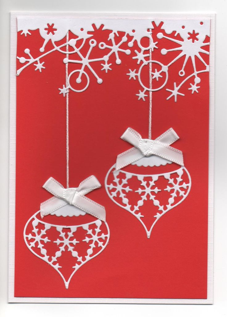 Hand Made Christmas Card Using Bauble And Frosty Border