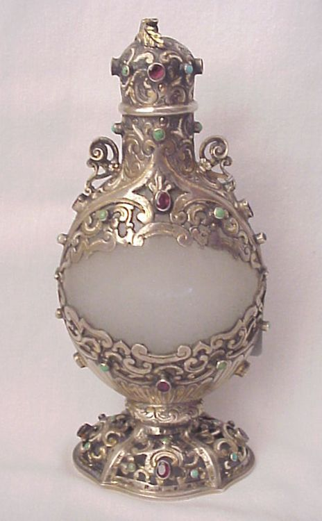 Austro Hungarian Clambroth Glass and Jeweled Silver Perfume Bottle - Circa 1850