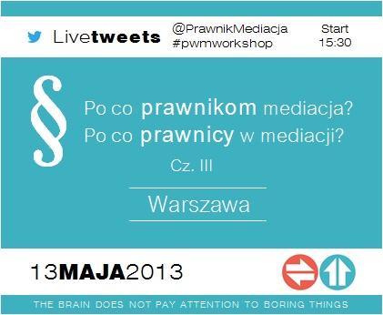 Prawnik w mediacji: Szkolenie: Po co prawnikom mediacja? Po co prawnicy w mediacji? cz. III PR/WAW/13/05/13