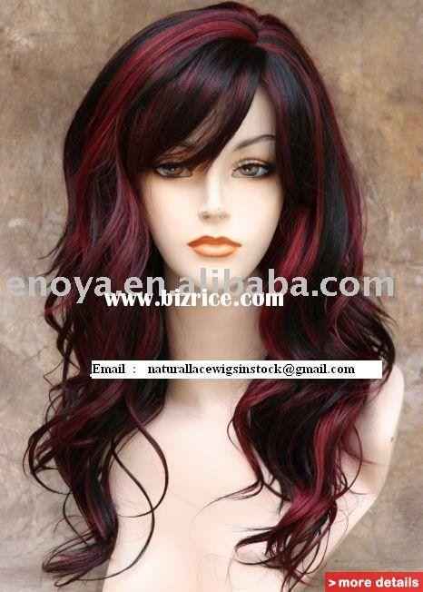 Highlights+for+Dark+Hair | EUROPEAN HAIR #1B/Burgundy HIGHLIGHT WIG / China Human Hair for sale