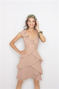 Short Ruffle Chiffon Dress, Chiffon Knee Length Dresses, Cocktail Gown $112.00