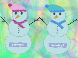 Snowman themed gender reveal party idea for a winter baby gender reveal party.