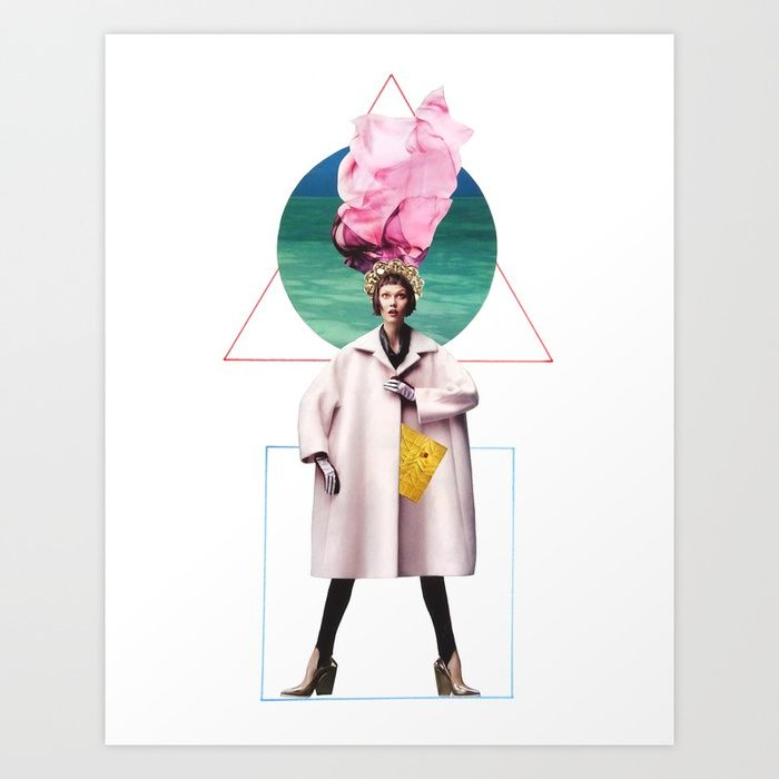 fashion collage - karlie kloss framed by geometric figures
