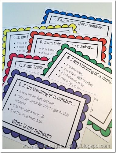 I'm thinking of a number task cards for centers or early finishers.
