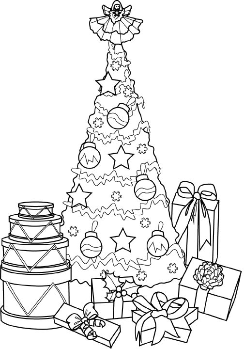 a pile of wrapping together a beautiful christmas tree coloring pages christmas coloring pages kidsdrawing free coloring pages online - Christmas Tree Coloring Pages Online