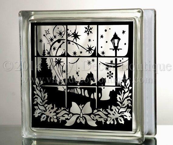 Dashing through the snow Glass Block Decal Tile Mirrors DIY Decal for Christmas Glass Blocks Dashing through the snow