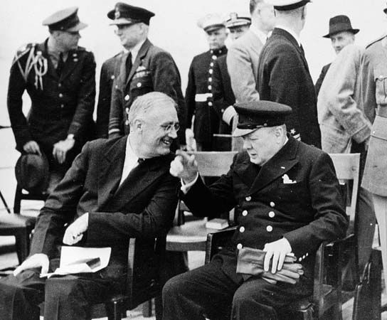 Churchill and FDR aboard the HMS Prince of Wales for the Atlantic Charter conference