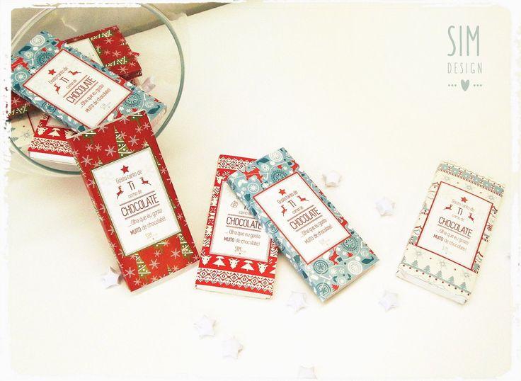 """""""TORNA ESTE NATAL MAIS DOCE!"""" Rótulo personalizável c/ papel natalício(tablete chocolate 40g)"""