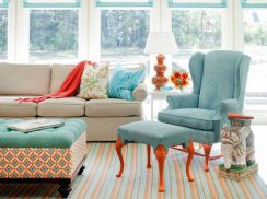 Co-ordinated fabrics for Roman Blinds, ottoman and cushions