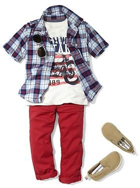 Baby Clothing: Toddler Boy Clothing: Outfits we  New: Americana | Gap, great red pants