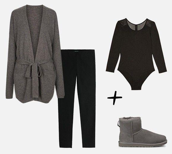 Look cocooning avec des bottines UGG grises, un gilet décontracté, un legging et un body à manches longues : http://www.taaora.fr/blog/post/idee-look-boots-ugg-classic-mini-grises-gilet-body-princesse-tam-tam-uniqlo