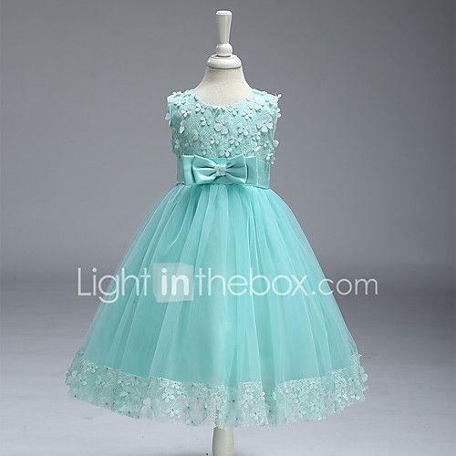 Vestido de menina de flor de joelho com uma linha de 2017 por R$203.37