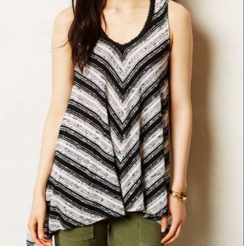Meadow Rue Anthropologie Sian Black & White Stripe Knit Top Medium