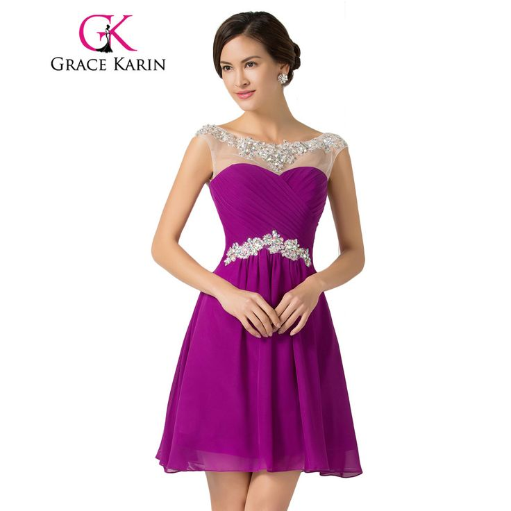 Grace Karin Cocktail Dresses Cap Sleeve Short Robe De Cocktail Party Gowns Beaded Chiffon Sexy Mini Special Occasion Dress 2017