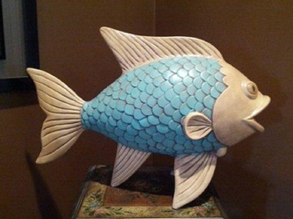 Keramikfisch, Fischdekoration, Großfisch, Aquafisch, Fischstatue, Türkis und …   – Fische