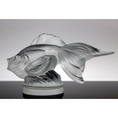 "Bohemian Art Deco Glass Car Mascot ""Gold Fish"" Design H.Hoffman"