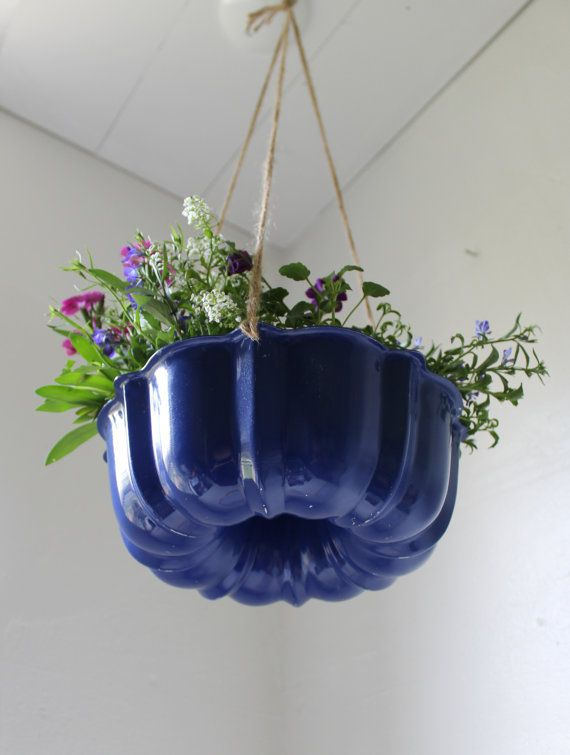 Upcycled Bundt Cake Planter in blue - Industrial Modern Reclaimed Rustic BootsNGus Hanging Flower Pot