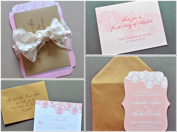 Lace Blush Wedding Invitations, Blush Wedding Invitations by Whimsy B. Paperie www.whimsyb.com