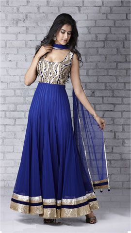 Blue-white anarkali