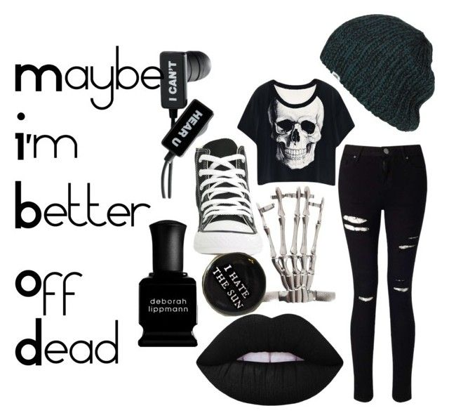 """Maybe I'm Better Off Dead"" by ria-c ❤ liked on Polyvore featuring Converse, Vans, Hot Topic, Miss Selfridge, Lime Crime and Deborah Lippmann"