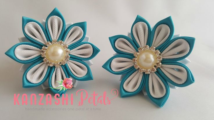 Kanzashi ponytail holder tutorial. DIY kanzashi flower.
