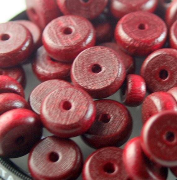 Wood spacers  Deep cranberry disks by debsdesigns401 on Etsy, $3.00: Spacer Deep, Sales Woods Spacer