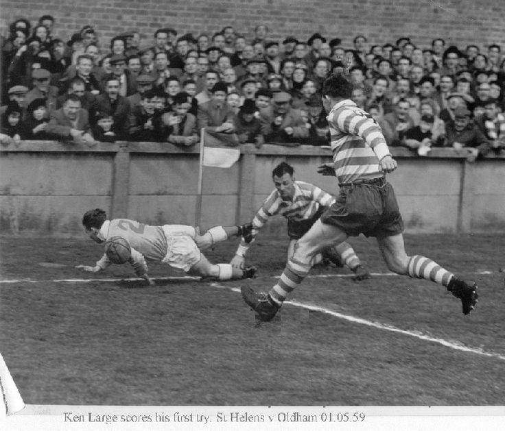 Ken Large scores against Oldham in 1959