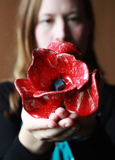 A ceramic poppy made for the art installation Blood Swept Lands and Seas of Red by Paul Cummins