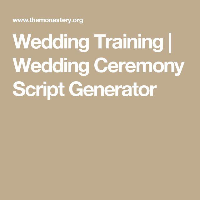 Wedding Training | Wedding Ceremony Script Generator