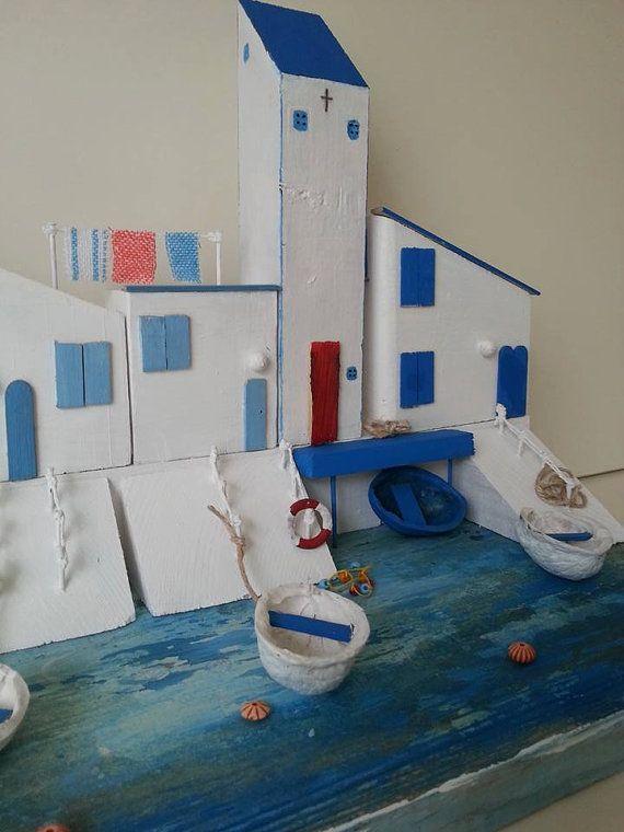 Greece  Santorini Cottages Miniature Cottage by TTassel on Etsy