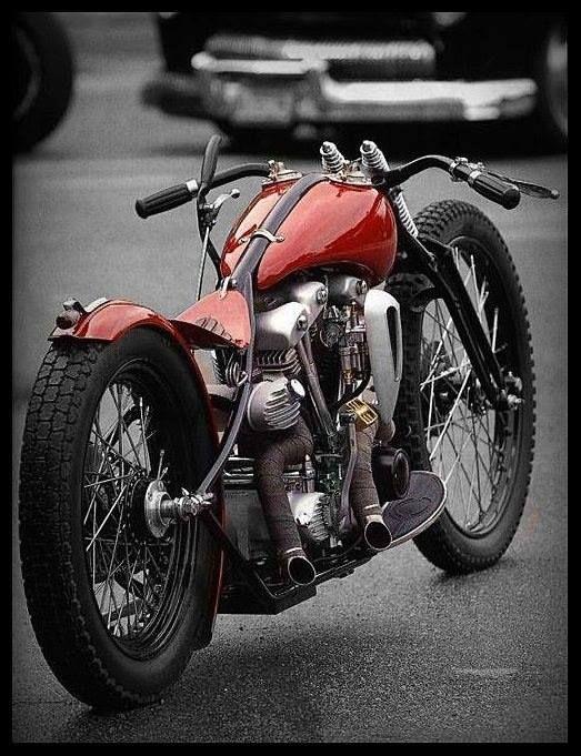 Harley knucklehead big wheels new-wave bobber