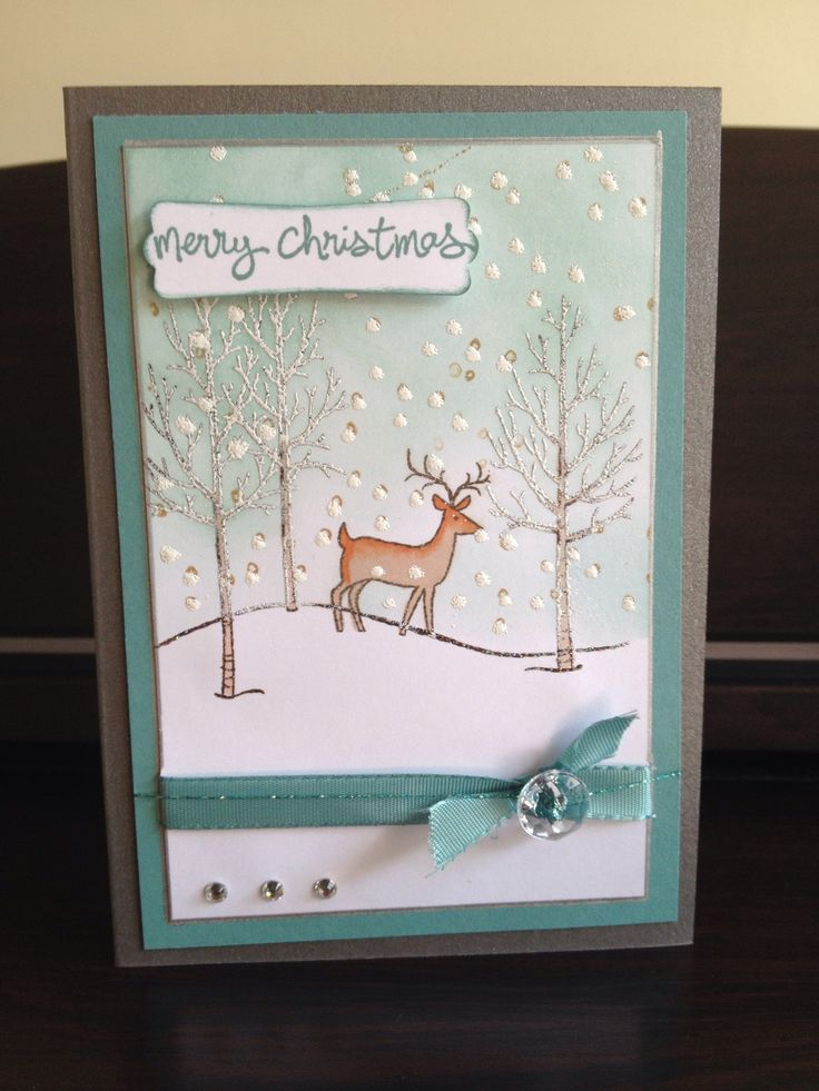 Christmas Card - All essential products for this project can be found on Crafting.co.uk - for all your crafting needs. - Stampin Up White Christmas Stamp Set