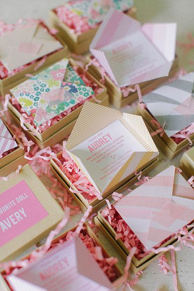 DIY Invites: Another view of the adorable mini invitations. Photo by Ruth Eileen via Style Me Pretty