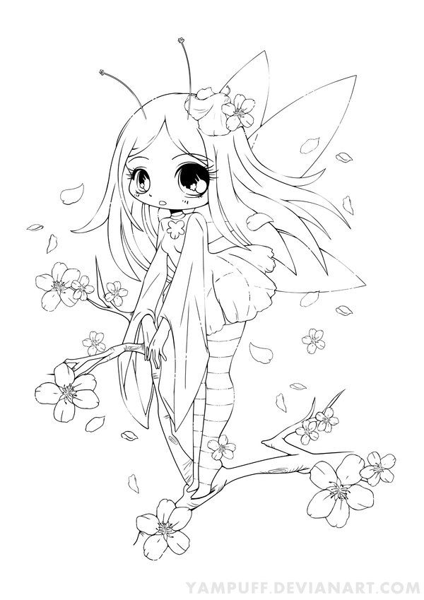 Cherry blossom fairy lineart commish by yampuff free coloring gallery by yampuff deviantart