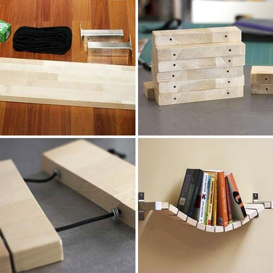Cut up a shelf or piece of wood, & string it up!