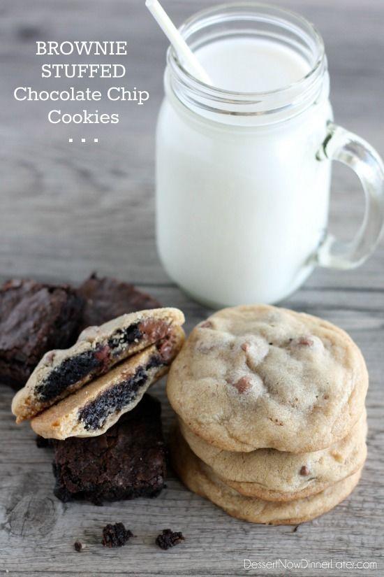 Brownie Stuffed Chocolate Chip Cookies on MyRecipeMagic.com #brownies #cookies #brookies