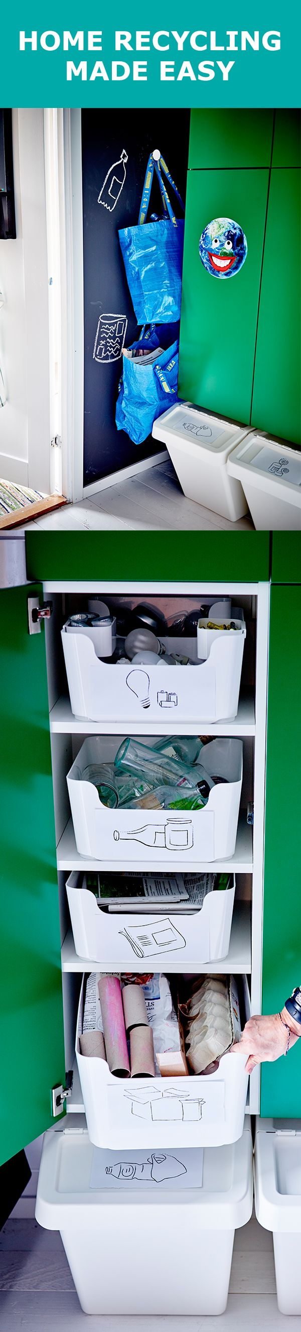When it comes to recycling, we say: the simpler, the better. Creating an easy-to-use system at home will inspire the whole family to get involved. PLUGGIS recycling bins are great for stacking and keeping all your recyclables separate. And for easy transport of your bottles and newspaper, try using IKEA's reusable FRAKTA bags.