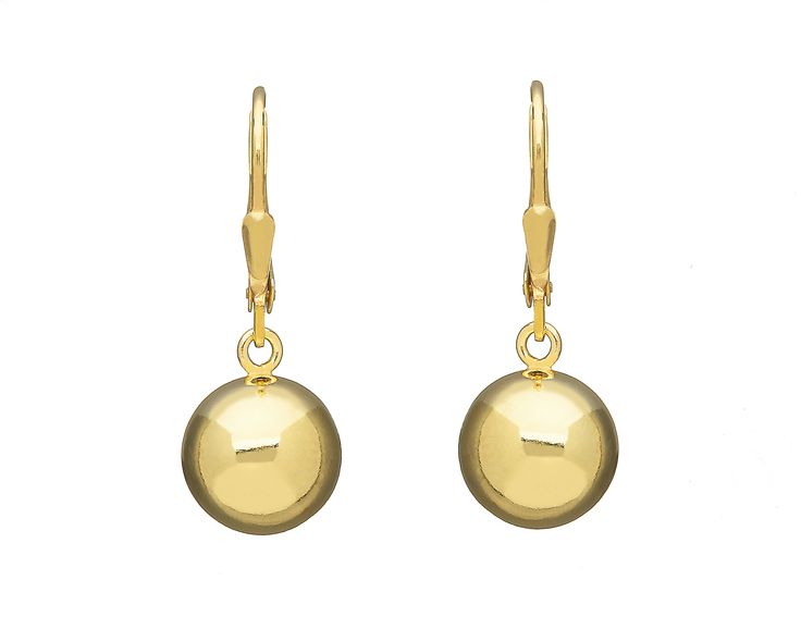 Sterling Silver Gold Plated Round Drop Earrings from Empress Collection at www.LaurynRose.com