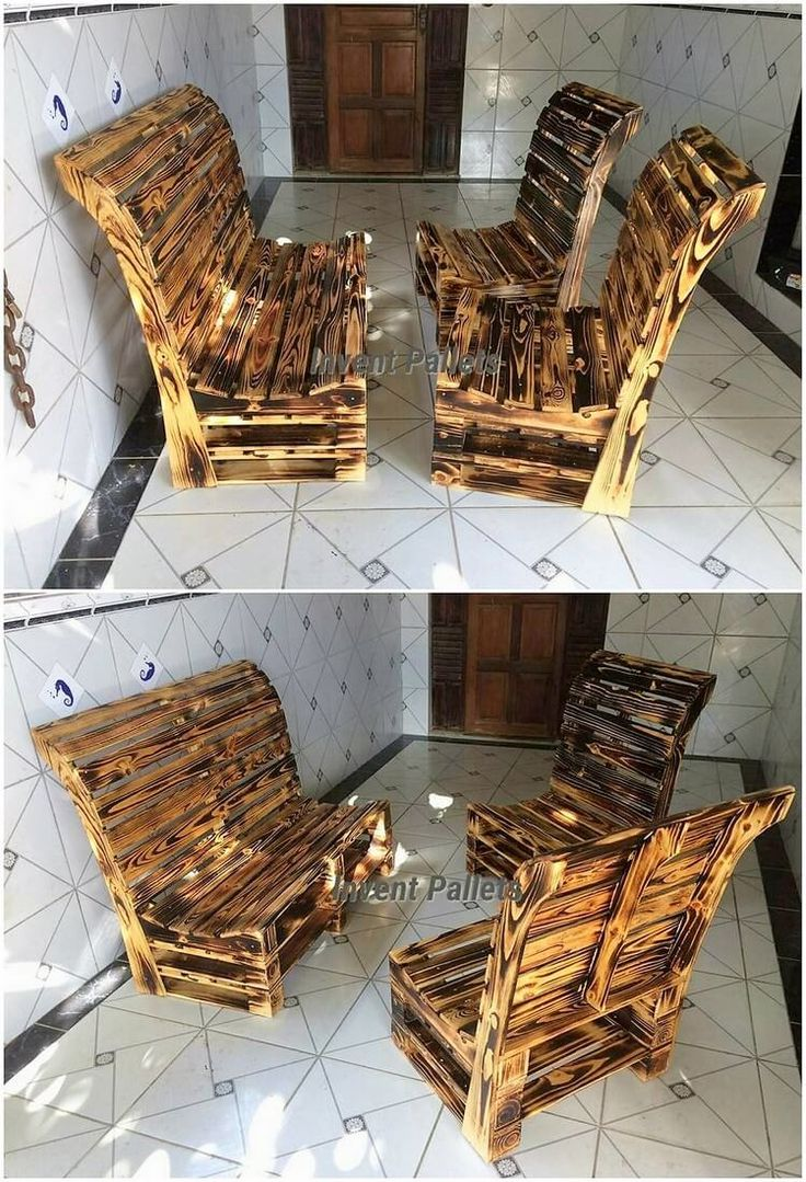 This awesome pallet creation is giving you out with the impact of the chairs pairing with the bench favorable impression that is looking so much outstanding. The simple variation of the designing work has been done in the whole creation that would definitely force you to make it part of your house.