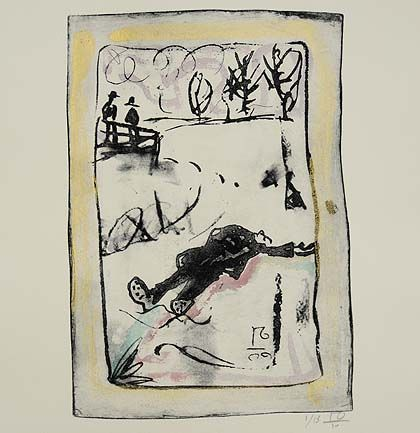 By Billy Childish, Robert Walser, Swiss author, dead of a heart attack in the snow. from http://www.culture24.org.uk/art/painting%20%26%20drawing/art316970