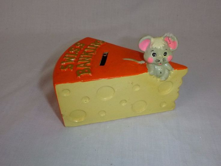 Vtg Mid Century Enesco Swiss Banking Piggy Bank Coin Box Swiss Cheese Mouse