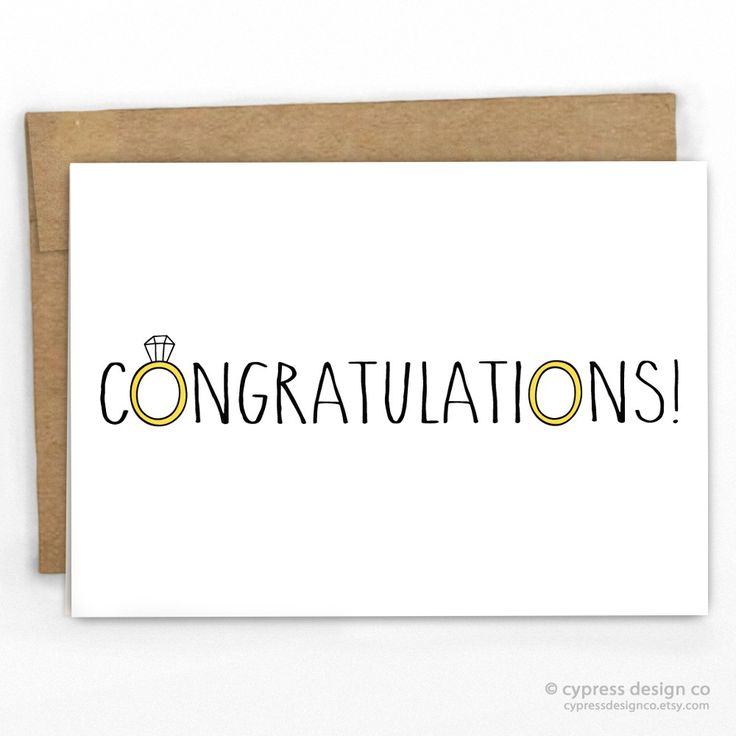 "Wedding Congratulations Card - Blank Inside - A2 size (4.25"" x 5.5"") - 100% Recycled Heavy Card Stock with 100% Recycled Kraft Envelope - Packaged in Biodegradable/Compostable Cello Sleeve SKU: 158"