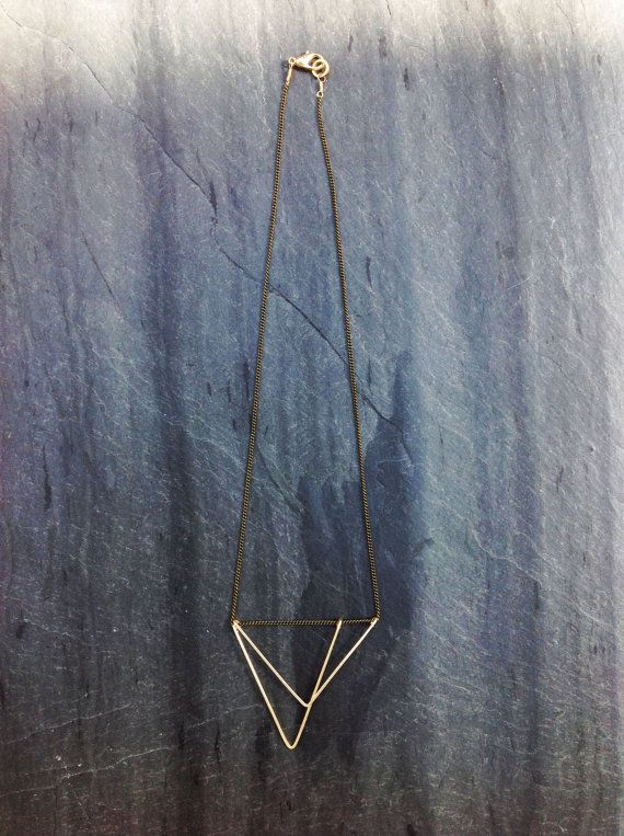 Gold Geometric Art Deco Hammered Acute by LoopHandmadeJewelry